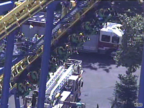 A mechanical failure left 24 people stranded for hours on a Santa Clara, California, amusement park Monday.