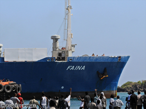 Ukrainian ship Faina arrives in the port of Mombasa, Kenya after its release.