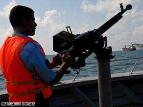 A Yemeni Coast Guard boat patrols the Gulf of Aden for pirates  who threaten shipping.