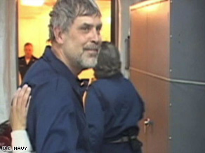 Cargo ship Capt. Richard Phillips is shown aboard the USS Boxer shortly after his rescue Sunday.