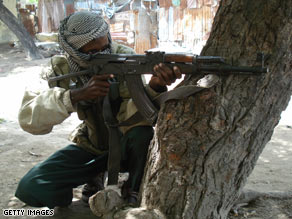 An Islamist fighter mans a position in the streets of Mogadishu, Somalia, on Saturday.