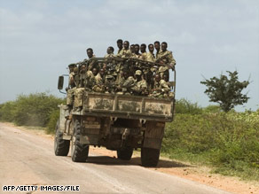 Ethiopian troops roll into Somalia in 2006.