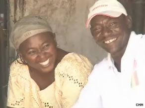 Umar Ahmed and his wife wait for anti-HIV drugs at a hospital in Nigeria.