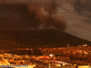 The Galeras volcano is shown on January 17, 2008, from Pasto, Colombia.