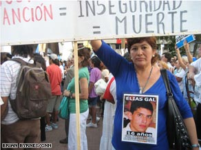 Graciela Lopez takes part in the march on Wednesday. Her 16-year-old son was killed by a drunk driver in 2007.