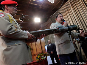 Venezuelan President Hugo Chavez talks about the AT4 anti-tank weapons Wednesday.