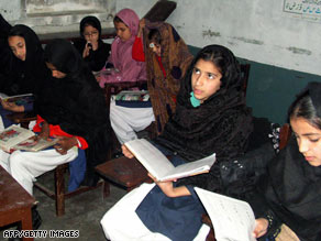 Girls study this week in Pakistan's Swat Valley. Education for girls is an issue in peace talks there.