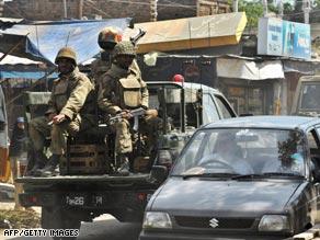 Pakistani army soldiers on patrol.