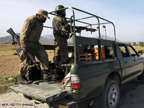 Pakistani troops on patrol close to the Buner district in the northwest of the country.