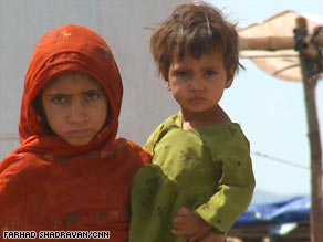 These children are among the thousands of refugees this week at the Jalozai camp in western Pakistan.