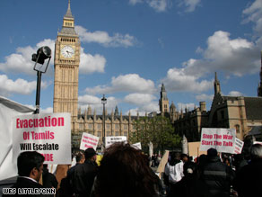 Protesters demonstrate in front of British Parliament in support of Tamil rebels in Sri Lanka.