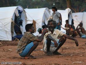Displaced Tamil civilians at Manik farm in the northern Sri Lankan district of Vavuniya.