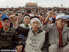 Students from Beijing University demonstrate on May 18, 1989, at Tiananmen Square.