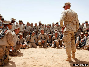 U.S. Marines gather for a briefing in Helmand Province, Afghanistan, on Wednesday.