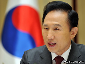 President Lee Myung-Bak is criticized by opposition parties who say he supports policies that favor the rich.