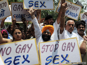 Activists protest against the ruling to decriminalize gay sex in New Delhi on Sunday.