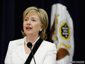 Secretary of State Hillary Clinton gives a news briefing Friday at the State Department.