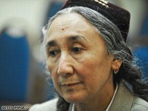 Uighur democracy leader Rebiya Kadeer waits to speak about the unrest in Xinjiang in Washington.