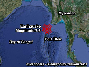 The quake struck at 1:55 a.m. (3:55 p.m. ET) about 163 miles north of Port Blair, Andaman Islands.