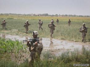 U.S. Marines patrol near Herat, Afghanistan, in July.