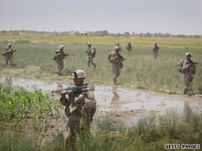 U.S. Marines patrol near Herat, Afghanistan, in July.
