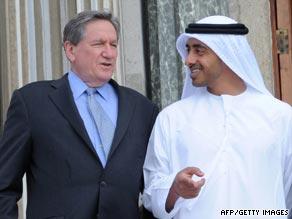 U.S. diplomat Richard Holbrooke chats with U.A.E. counterpart Sheikh Abdullah bin Zayed Al Nahyan.