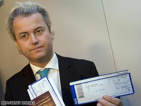 Geert Wilders at Amsterdam's Schiphol airport before flying to the UK Thursday.