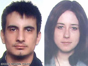Spanish police released these images of Christian Peso Ruiz Coello, left, and Maria Choubina.