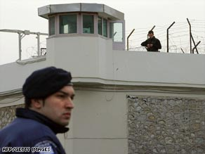 Police at Korydallos prison after the daring escape.