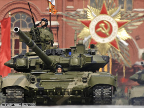 A Russian T-90 tank rolls through Red Square during 2008's Victory Day parade.