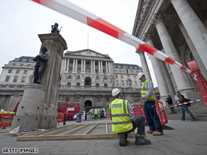The Bank of England was expected to be the focus of protests Wednesday on the eve of the G-20 summit.