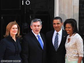 British PM Gordon Brown and his wife, Sarah, welcome Barack Obama and wife Michelle to Downing St.