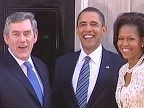 British PM Gordon Brown welcomes U.S. President Barack Obama and wife Michelle to Downing Street.