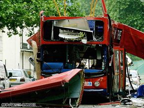 The wreck of a bus destroyed by a bomb in central London on July 7, 2005.