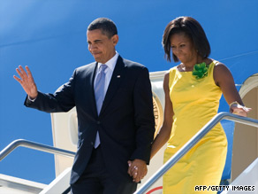 U.S. President Barack Obama and his wife Michelle arrive in Italy ahead of the G-8 summit.