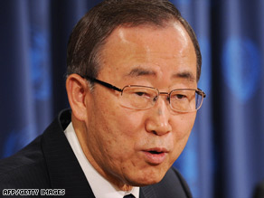 U.N. Secretary-General Ban Ki-moon spoke Saturday with Israeli Prime Minister Ehud Olmert.