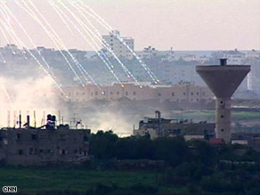 Israel is declining to say whether bursts like this over Gaza involve white phosphorus.
