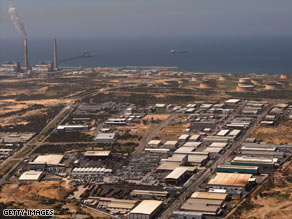 This aerial view shows the power station and industrial zone of Ashkelon, Israel, in March of 2008.