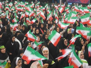 Women in Tehran celebrae the 30th anniversary of the Islamic revolution Tuesday.