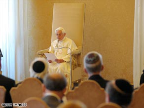 Pope Benedict XVI meets with members of an American Jewish delegation at the Vatican on Thursday.