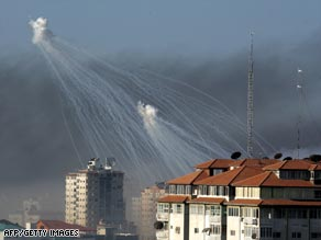 Human Rights Watch says Israel used white phosphorus shells over populated areas in Gaza.