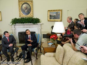President Obama speaks to the media during a meeting Tuesday with Jordan's King Abdullah II.