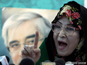 Zahra Rahnavard, wife of Iranian candidate Mir Hossein Moussavi, has taken a visible role in the campaign.
