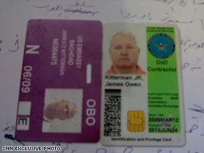 The ID cards of James Kitterman, an American contractor who was killed in Baghdad.