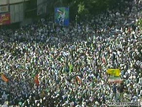Al-Alam footage shows Ahmadinejad supporters rallying Tuesday in central Tehran.