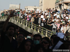 Moussovi supporters rally Wednesday in Tehran, Iran. Released by Fars News Agency of Iran.