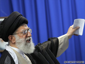 Ayatollah Ali Khamenei speaks to a crowd in Tehran during Friday prayers.