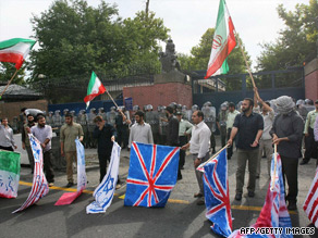 Iranian students protest outside the British embassy in Tehran on June 23.