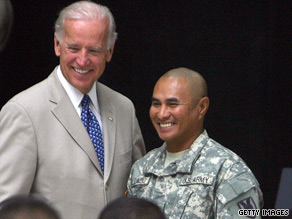 Vice President Biden congratulates a soldier who became a U.S. citizen on Saturday.