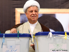 Ali Akbar Hasehemi Rafsanjani casts his ballot for the presidential elections in Tehran on June 12.